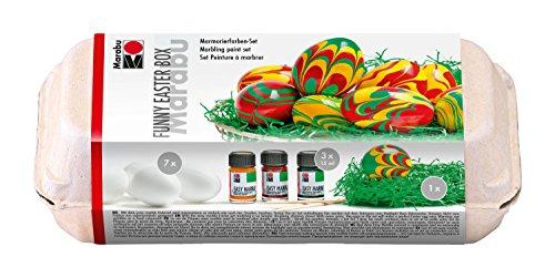 Marabu 1305000000094 - Easy Marble Funny Easter Box, Marmorierfarbe, Set zum Tauchmarmorieren von Kunststoff, Glas, Holz und Styropor, 3 x 15 ml Farbe, 7 Kunststoffeier, 7 Holzspieße und Ostergras