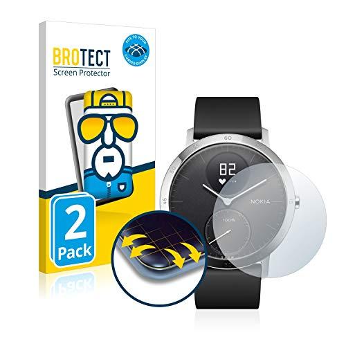 BROTECT Full Cover Schutzfolie kompatibel mit Withings Steel HR (40 mm) [2er Pack] - Full Screen Bildschirmschutz, 3D Curved, Kristall-Klar