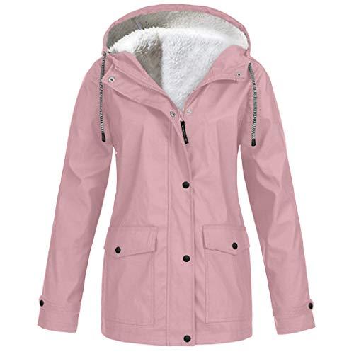 Auied Damen Plus Size Mantel Solid Plüsch Verdickung Jacke Outdoor Kapuzen Regenmantel Winddicht