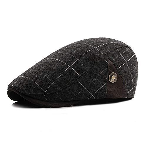 Wildleder Newsboy Cap Hat (AM-women's hat Mode Retro Barette für Erwachsene, Flache Karierte Wollmützen für Frauen, Newsboy Caps Komfort (Farbe : White Plaid, Größe : 56-58CM))