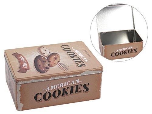 Plätzchendose - Cookies - Gebäckdose groß - 22 x 16 x 9 cm - Vorratsdose Geschenkdose Keksdose Aufbewahrung Blechdose 101946 von Alsino