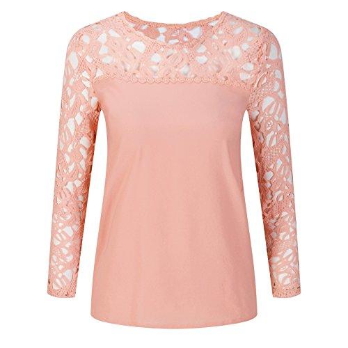 Beauty7 Damen Langarm Häkel Lace T Shirt Hollow Out Fit Sommer Top Beiläufig Sommer Wear - Farbe: Beige -Größe: EU 42 (T-shirt Letzte Out)