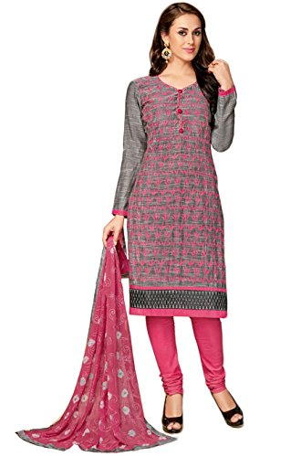Salwar Suits For Women (Manmandir's Grey Cotton Embroidered Dress Material)