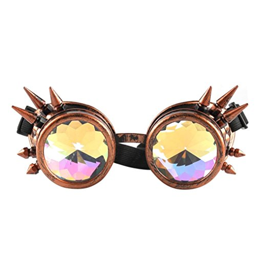 ZARU Kaleidoskop Nietengläser, Unisex Vintage Steampunk Sonnenbrille Bunte Gläser Rave Festival...