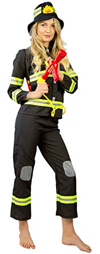 Nick and Ben Feuerwehrmann Feuerwehrfrau Set   Kostüm + Hut + Helm + Wasserpistole + Wassertank   6-teilige Verkleidung für Karneval   schwarz gelb rot: Größe: M(140)