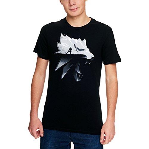 Witcher camiseta para hombre de la silueta del lobo Geralt de algodón negro Riva Wild Hunt - S