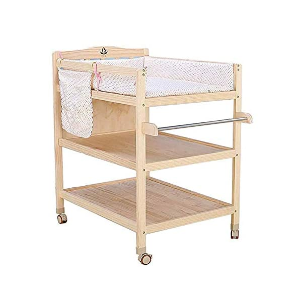 CWJ Small Bed for Look After Baby Without Bending Over,Diaper Changing Tables with Brake Wheel,Wooden Diaper Station Organizer for Infant,Table with Storage Storage Desk,Blue CWJ [Dimension]:86×64×95Cm(1Cm=0.39Inch), Load up 45Kg. Easy Assembly Required. [Stable Structure]:Made of Solid Wood. Four Brake Wheels Makes It Flexible to Move & Stop. a Safety Belt is Equipped on the Cushion for Added Security. [Large Storage Spaces]:Equipped 2 Storage Layers, You Can Place Soaps, Towels and Any Other Accessories Conveniently. 3