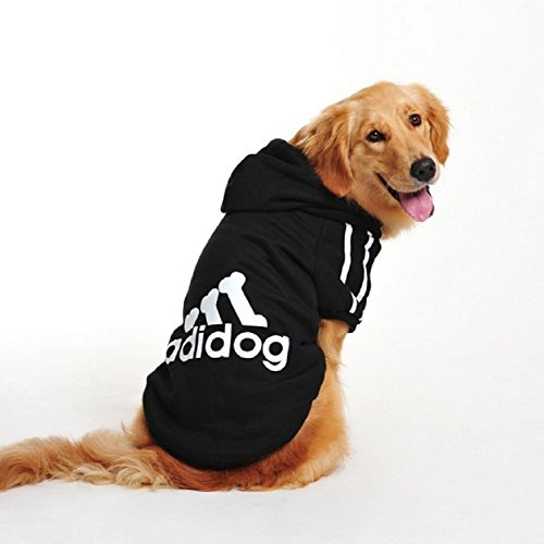 Costume felpa nera con cappuccio Adidog per cane e gatto taglia XL