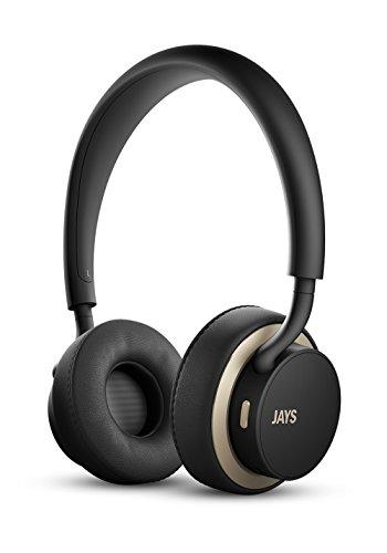 Jays u-JAYS Bluetooth-Kopfhörer, drahtlose Kopfhörer mit enormen 25 Stunden Spieldauer, integrierter Touchbedienung und starkem Bass, Geräuschisolierung und Mikrofon - schwarz/gold