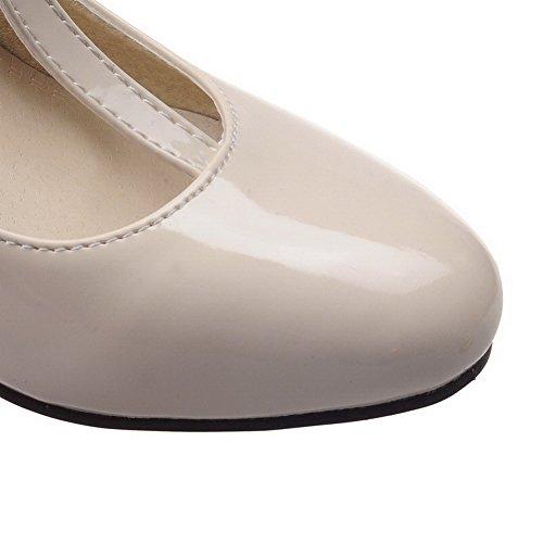 AgooLar Femme à Talon Haut Couleur Unie Boucle Verni Rond Chaussures Légeres Beige
