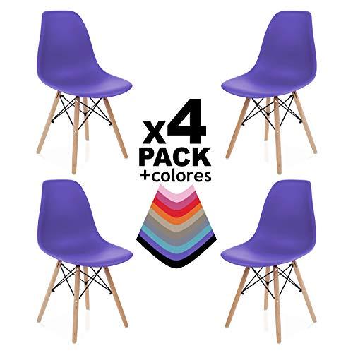 duehome - Nordik - Pack 4 sillas, Silla de Comedor, Salon, Cocina o Escritorio, Patas Madera Haya, Dimensiones: 47 x 56 x 81 cm de Altura