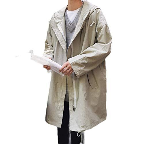 Toddler Full Zip Hoodie (CuteRose Men Skinny Pure Color Full Zip Loose Hoodie Trench Coat Jacket Khaki L)