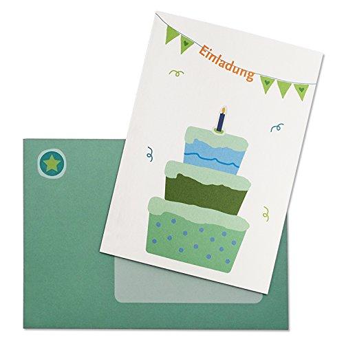 6 kreative Geburtstags Einladungskarten - Torte Grün - für den Kindergeburtstag - mit süßen Stickern und zum Bedrucken