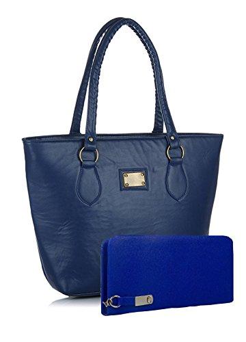 Flora Premium PU Leather Women's Handbag And Wallet Clutch Combo (Blue Color)