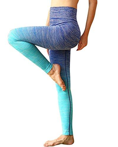 Saideng Da Donna Atletico Yoga Pantaloni Allenarsi Ghette Blu L/XL