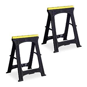 Relaxdays 10025494 Caballete, Set doble, Capacidad de 170kg, Altura de 79 cm, Plástico, negro-amarillo, 79 x 61 x 54 cm