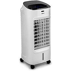 OneConcept Coolster WhiteLine - 4 en 1, Rafraîchisseur d'air, Ventilateur, 3 Niveaux de Puissance, Réservoir d'eau de 4 litres, Ioniseur, Humidificateur, Blanc