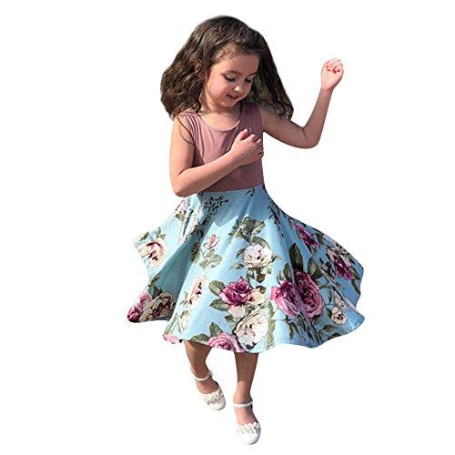 (jkhhi Nette Art und Weise Druck Sleeveless Kind-Mädchen-Blumendruck-Prinzessin Sundress Kleid-beiläufige Familien-Kleidung (L, Blue))