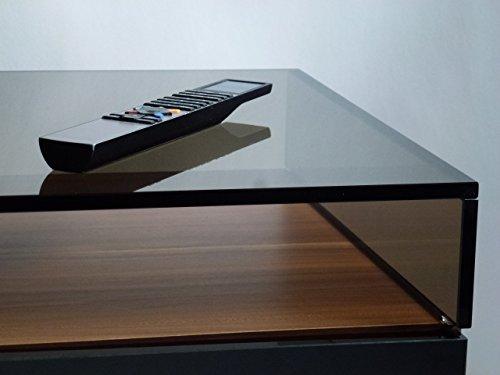 Glas TV Aufsatz Ponte Bronze Braun 50/58/65/80/100 cm Erhoehung Bruecke Lowboard - Glas Runden Podest