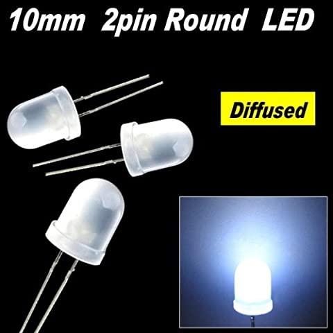 50pcs x 10mm Round Diffused LED Light 2pin 10mm Diffused LED 9k MCD White by madshop