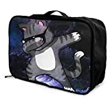 Portable Luggage Duffel Bag Dabbing Cat Travel Bags Carry-on In Trolley Handle