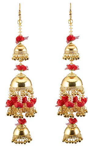 Chinar Jewels Bridal Red Flowers and Gold Plated Kalire for Women