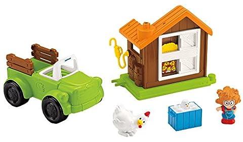 Fisher-price - Cbm90 - Jeu D'imitation - Outils - Little People - Camion Agricole Et Poulailler