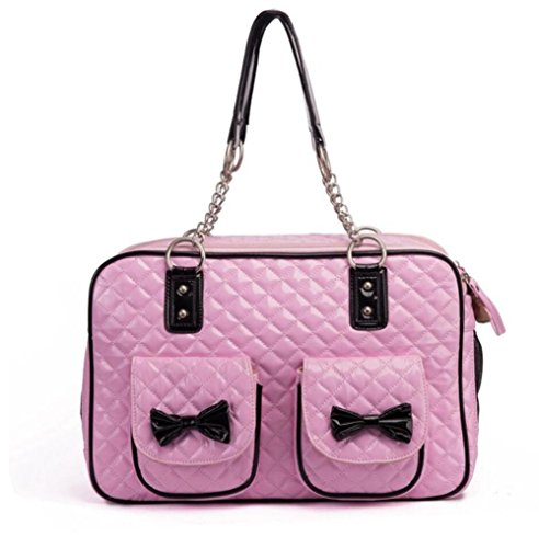 ZZHH Brevetto ecopelle trapuntata Dog Soft Sided & gatto viaggio Pet Carrier Tote Handbag . pink