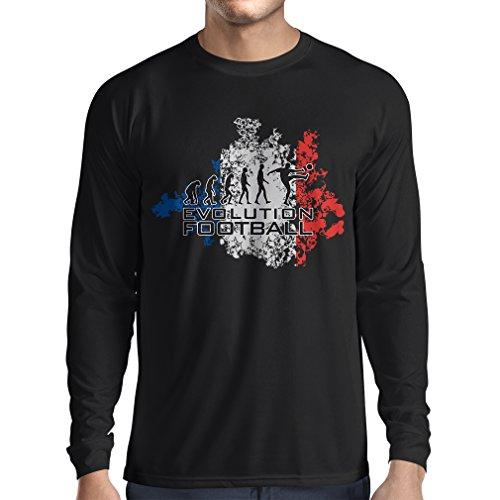 N4455L Camiseta de manga larga Evolution Football - France (XX-Large Negro Multicolor)