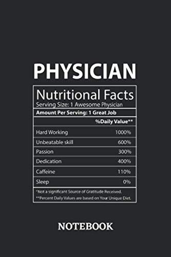 Nutritional Facts Physician Awesome Notebook: 6x9 inches - 110 dotgrid pages • Greatest Passionate working Job Journal • Gift, Present Idea