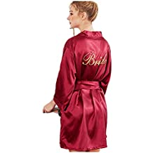 ZSZBACE Bata de Bata de satén Albornoz camisón para Mujer Kimono Ropa de Dormir Vestido de