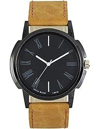 Xurious Enterprise Round Dial Analogue Black Dial Cream Leather Strape Fashion Wrist Watch For Men & Boys | XE_LR... - B07FZLBMQX