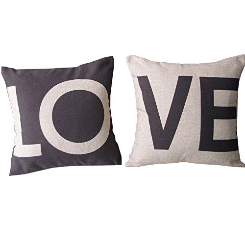 Bravoe LOVE Kissenbezug Lendenkissen Bettkissen Pillowcase Kissenhuelle Haus Sofa Zimmer Auto Liebhaber Hochzeit Deko 45 x 45 cm Set 2er Geschenk