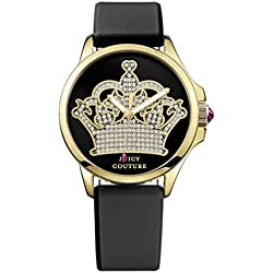 Juicy Couture Jetsetter Women's Quartz Watch with Black Dial Analogue Display and Black Leather Strap 1901142