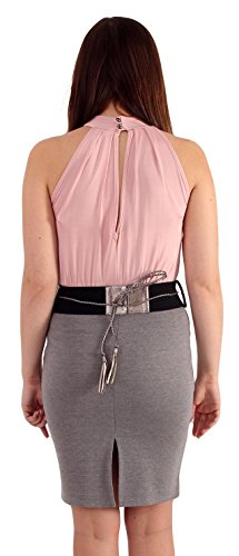 Neuen Frauen Neckholder Rope-Bindung 2 In1 Umgeschnallter Office Dress 36-42 Pink-Grey