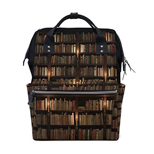Bücherregal in der Bibliothek Bücherwurm Multifunktions-Wickeltaschen Rucksack Reisetasche -