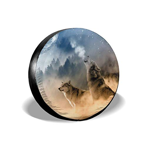 Vbnbvn Reserveradabdeckung, Three Musketeers Wolves Potable Polyester Universal Spare Wheel Tire Cover Wheel Covers Jeep Trailer RV SUV Truck Camper Travel Trailer Accessories 15 in