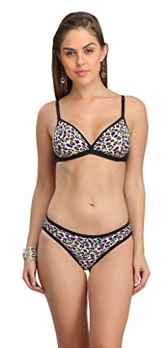 Selfcare Deepneck Padded Animal Printed Bra and Bikni Panty Set
