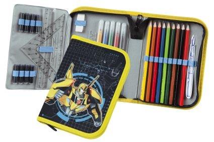Transformers astuccio 1zip riempito–giallo–astuccio portapenne per l' inizio della scuola–con una cerniera ideale anche per la scuola materna in asilo