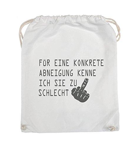 Comedy Bags - FÜR EINE KONKRETE ABNEIGUNG - FUCK FINGER - Turnbeutel - 37x46cm - Farbe: Schwarz / Silber Weiss / Grau