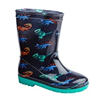 Boys Dino Design Navy Rain Snow Wellies Wellington Boots New