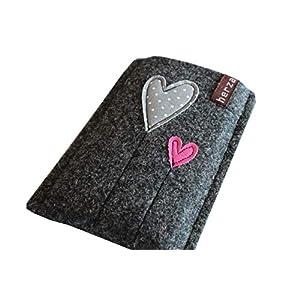 Handytasche Samsung Galaxy S9 Plus Handyhülle Smartphone Filzhülle Handy Hülle Tasche Cover Case Filz Wollfilz herz am stiel handmade herzballon herzblume