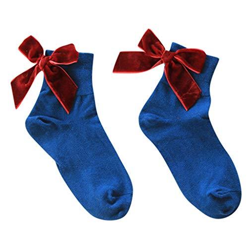 iHAZA DamenSommer Retro Bogen In Schlauch SockenSüßSocken (Mädchen Kostüm Oberschenkel Hohe Schlauch)