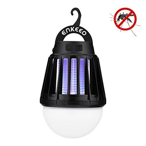 Enkeeo 2-in-1 lanterna da campeggio zanzariera elettrica raggi ultravioletti portatile impermeabile di livello ipx6, 3 modalità di luce, 2000mah batteria ricaricabile inclusa, nero