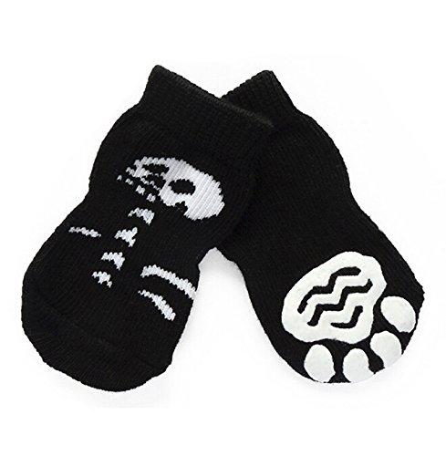 Calzini Antiscivolo Cordone Halloween Cranio per Cane Gatto, Badalink Caldo Pet Socks 4 Pezzi (XL)