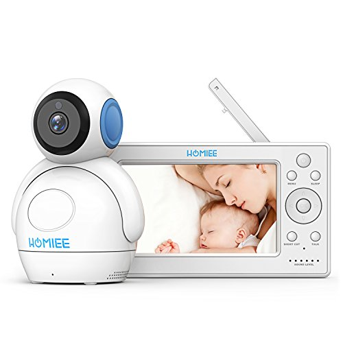 "HOMIEE 720P Wireless Video Baby Monitor with 5"" HD LCD Digital Screen & Robot Appearance Camera, Two Way Audio and Baby Lullabies, Sound & Temperature Alert, Low Battery & Out of Range Alarm, Night Vision with 1000ft Range (Blue)"