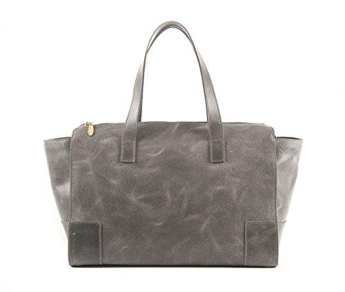 Amelia - Grau Einkaufstasche - Tasche Frau Modell Einkaufstasche aus echtem Leder Vintage-Effekt gemacht - PassioneBags - Made in Italy (Gucci Echte Taschen)