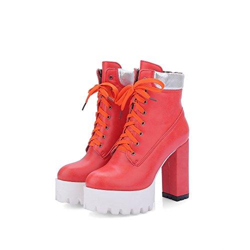 AgooLar Damen Hoher Absatz PU Zweifarbig Schnüren Stiefel, Rot, 38