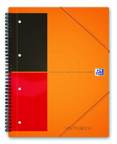 OXFORD 100103453 Meetingbook International A5 liniert 10-fach gelocht 2 in 1 Collegeblock und Gummizugmappe orange