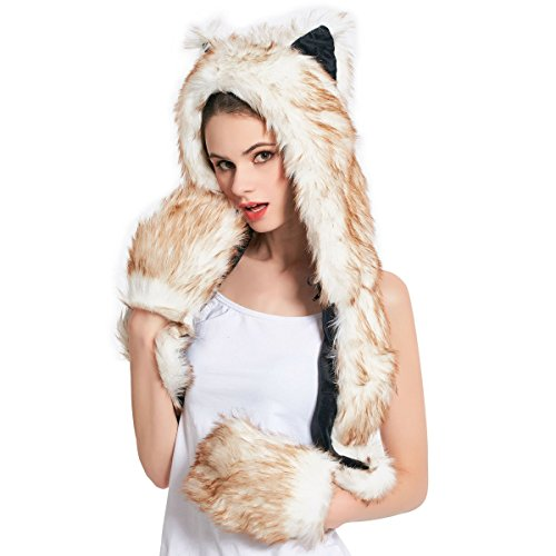 (Kunstpelz Tier Hut Schal Handschuhe Fäustlinge 3-in-1-Funktion Pelzigen Hoodie mit Pfoten Ohren (braun Husky))